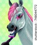 horse is applying the lipstick... | Shutterstock .eps vector #748044772
