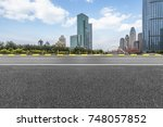 city empty traffic road with... | Shutterstock . vector #748057852