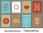 merry christmas typography and... | Shutterstock .eps vector #748058956
