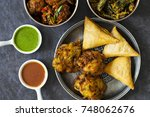 selection of indian dishes ... | Shutterstock . vector #748062676