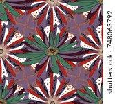 islamic oriental background... | Shutterstock . vector #748063792