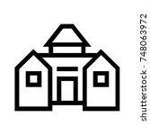 barn line icon  outline vector... | Shutterstock .eps vector #748063972