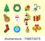 christmas fun vector icon pack | Shutterstock .eps vector #748072675
