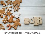 new year's gift card with... | Shutterstock . vector #748072918