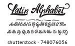 latin alphabet  hand made  font ... | Shutterstock .eps vector #748076056
