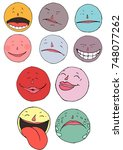 set of ten  colorful emoticons  ... | Shutterstock .eps vector #748077262