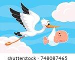 Cartoon Stork Carrying A Cute...