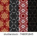 set of original geometric... | Shutterstock .eps vector #748091845