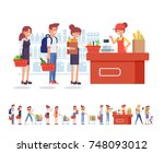 people shopping in supermarket. ... | Shutterstock .eps vector #748093012