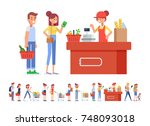 people shopping in supermarket... | Shutterstock .eps vector #748093018