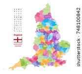 vector map of england... | Shutterstock .eps vector #748100842