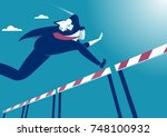 overcome obstacles. manager... | Shutterstock .eps vector #748100932