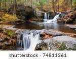 Waterfall With Trees And Rocks...