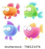 cute cartoon fishes   Shutterstock .eps vector #748121476