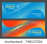 two web banners with abstract... | Shutterstock .eps vector #748127326