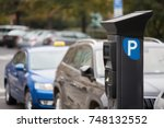 parking machine with solar... | Shutterstock . vector #748132552