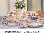 delicious wedding reception...   Shutterstock . vector #748134115