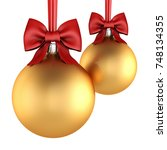 3d rendering golden christmas... | Shutterstock . vector #748134355