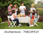 young friends having barbecue... | Shutterstock . vector #748139515