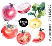 watercolor vegetables set.... | Shutterstock . vector #748152922