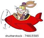 easter rabbit flying with plane | Shutterstock .eps vector #74815585