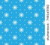 pattern seamless snowflake for... | Shutterstock .eps vector #748165582