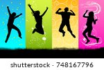 happy people jumping silhouette | Shutterstock .eps vector #748167796