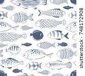 seamless pattern with fishes... | Shutterstock .eps vector #748172908