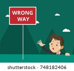 wrong business decision.  | Shutterstock .eps vector #748182406