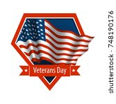 vector emblem of veterans day.... | Shutterstock .eps vector #748190176