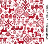 nordic pattern illustration | Shutterstock .eps vector #748197508