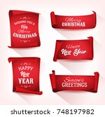 christmas parchment scroll set. ... | Shutterstock .eps vector #748197982