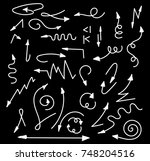 hand drawn arrows set isolated... | Shutterstock .eps vector #748204516