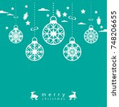 template christmas card  for... | Shutterstock .eps vector #748206655