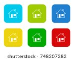 set of rounded square colorful... | Shutterstock . vector #748207282