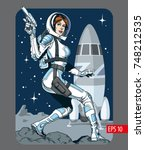 sexy space girl with blaster... | Shutterstock .eps vector #748212535