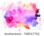 watercolor stain background.... | Shutterstock . vector #748217752