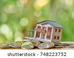 a model house model is placed...   Shutterstock . vector #748223752