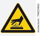 safety icon triangle hot hand... | Shutterstock .eps vector #748224862