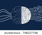 vector brain and circuit board  ... | Shutterstock .eps vector #748227748