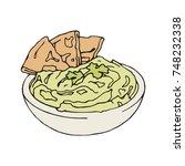 hummus   pita | Shutterstock .eps vector #748232338