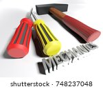 a hammer and a couple of... | Shutterstock . vector #748237048