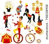 circus set cartoon style vector ...   Shutterstock .eps vector #748238908