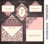 laser cut wedding invitation... | Shutterstock .eps vector #748246342