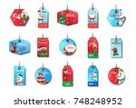 set of new year sale tags... | Shutterstock .eps vector #748248952