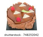 chocolate cake with berries... | Shutterstock . vector #748252042