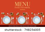 restaurant menu cover design.... | Shutterstock .eps vector #748256005