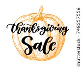 thanksgiving day sale card with ... | Shutterstock . vector #748257556