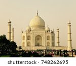 view of taj mahal at sunset  | Shutterstock . vector #748262695