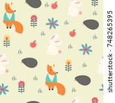 vector print with cute animals | Shutterstock .eps vector #748265395